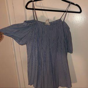 Stripped Off the Shoulder Summer Shirt